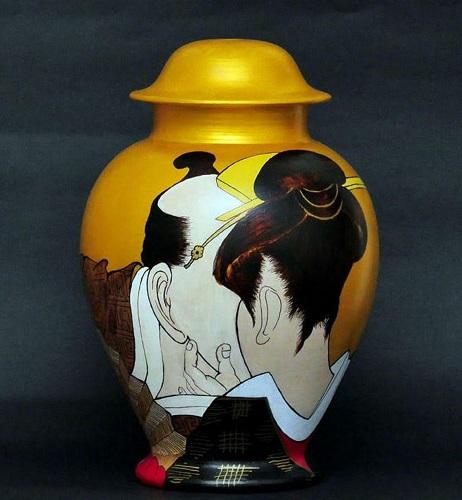 Il-bacio-della-gheisha-terracotta-dipinto-ad-olio-45-cm-1Galleria Studio CiCo